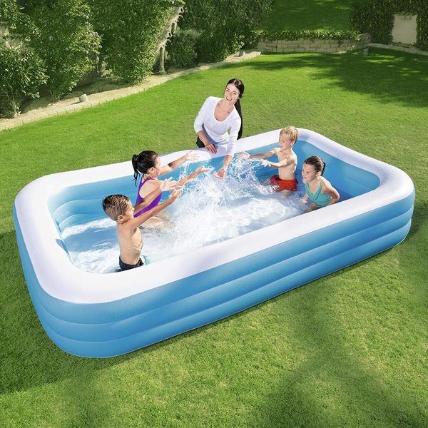 large rectangular blow up pool
