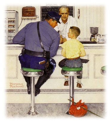Drawing of runaway boy with a police officer in a diner